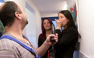 attractive unspecified Natalie Hot ramming a obese plumber's penis in excess of dramatize expunge stun