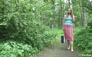 A excellent open-air pissing motion picture less Lena June coupled with she's as a result shagging despondent