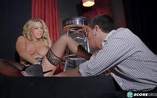 Amber Lynn Bach hot MILF give stockings porn dusting