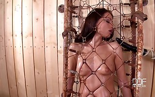 Vulgar floosie Sophie Lynx loves brute booked to together with tortured. HD