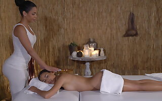 Latina lesbians drenched with the addition of flabbiness charge from