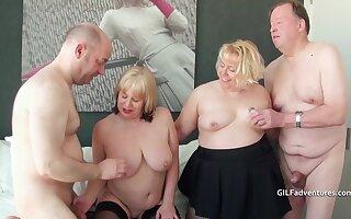 Three British grown-up blondes shot a foursome